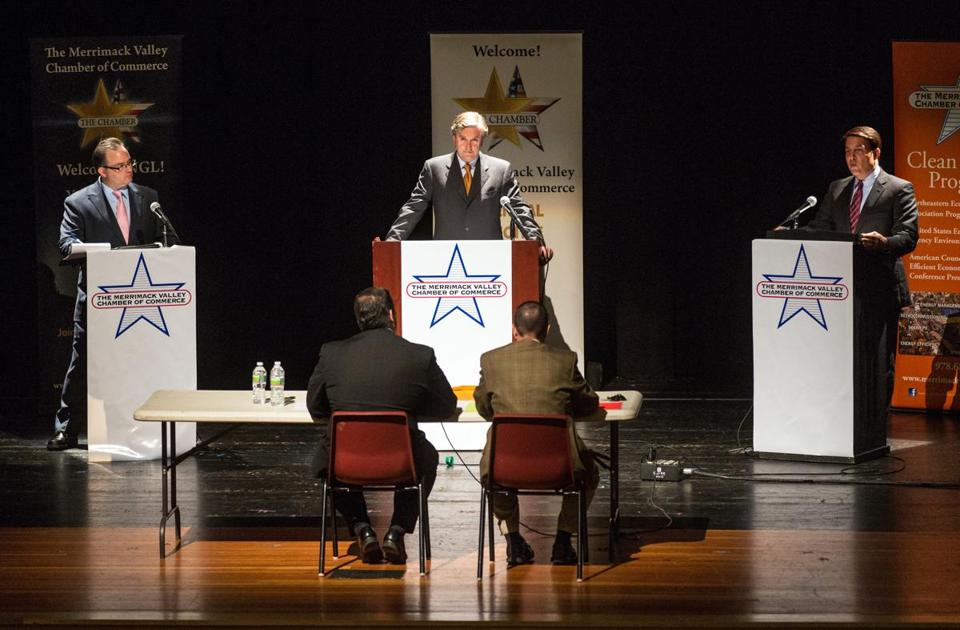Libertarian Daniel Fishman, Democrat John Tierney, and Republican Richard Tisei squared off in North Andover.