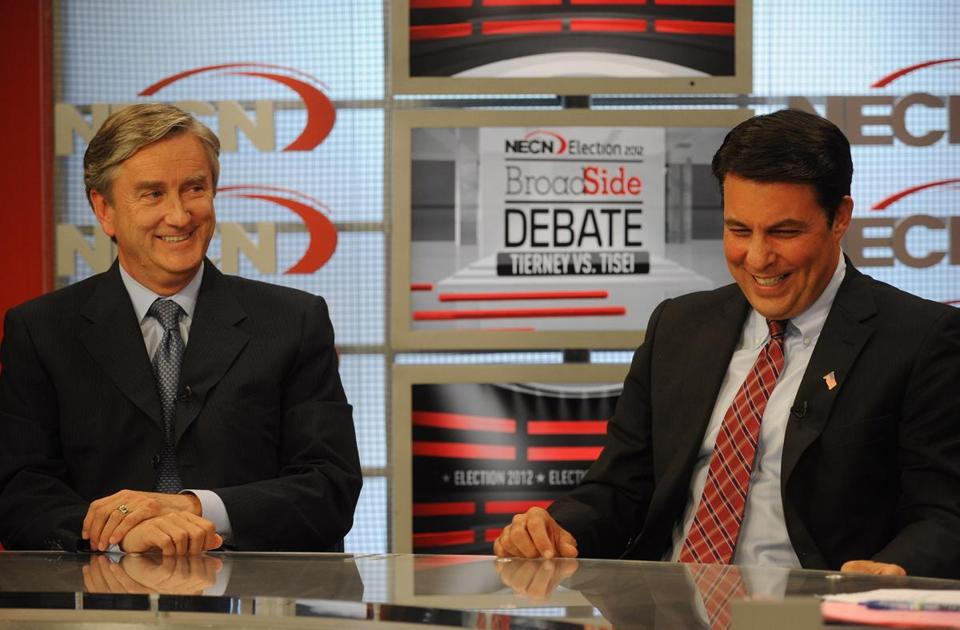 US Representative John Tierney (left) and GOP challenger Richard Tisei exchanged highly charged personal attacks.-air debate at the Jim Braude's show at NECN on October 17, 2012. (Essdras M Suarez)/ MET