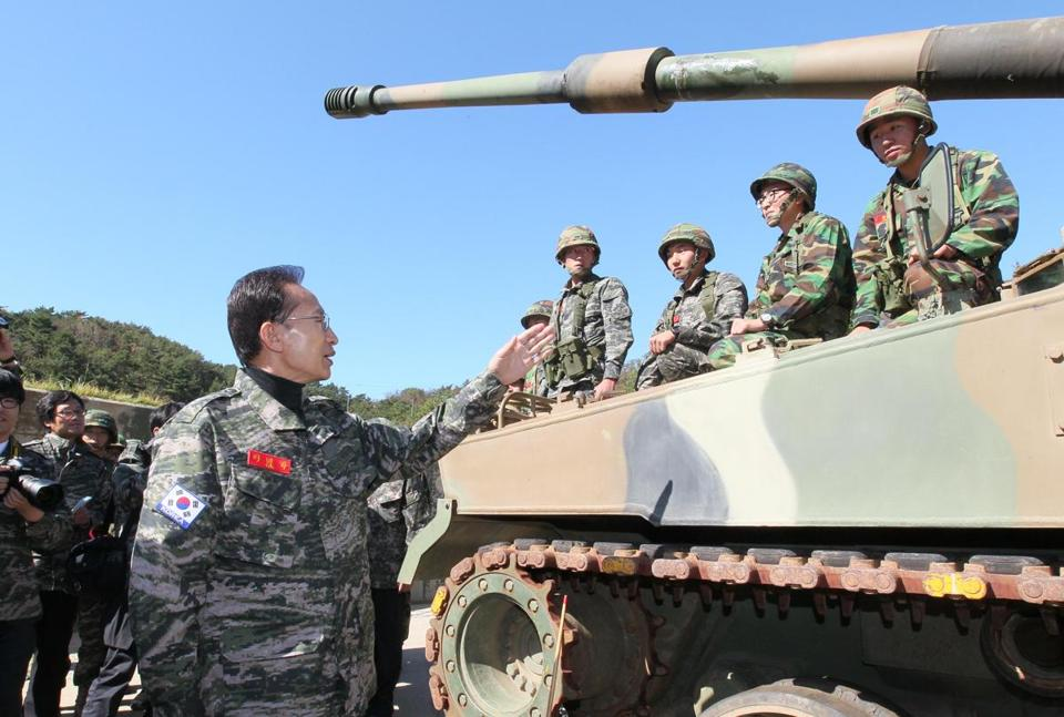 President Lee Myung Bak has tried to bolster his image by demonstrating resolve to defend disputed territories.