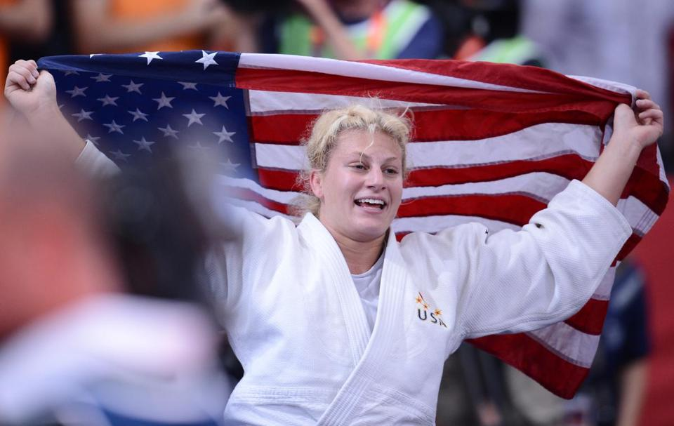 Kayla Harrison after winning the women's -78kg judo contest final at the London 2012 Olympic Games.
