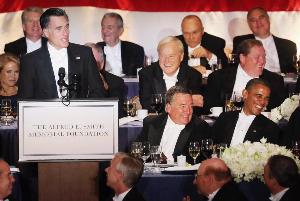 The white-tie dinner, held at the Waldorf Astoria Hotel in New York, raised some $5 million to benefit the Alfred E. Smith Memorial Foundation, which helps sick and poor people in New York.