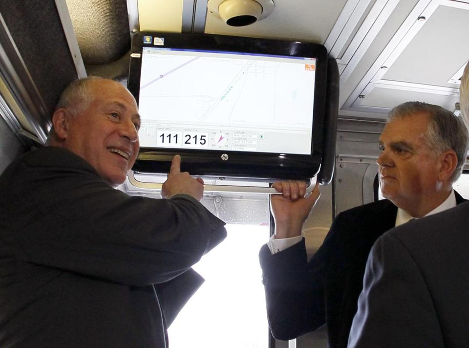 Transportation Secretary Ray LaHood, right, and Illinois Governor Pat Quinn were aboard when an Amtrak train hit 111 miles per hour for the first time in Illinois.