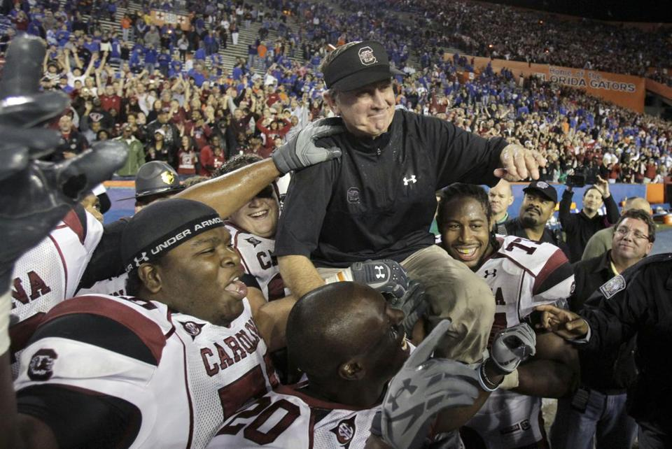 Coach Steve Spurrier was on a high after South Carolina defeated Florida in 2010.