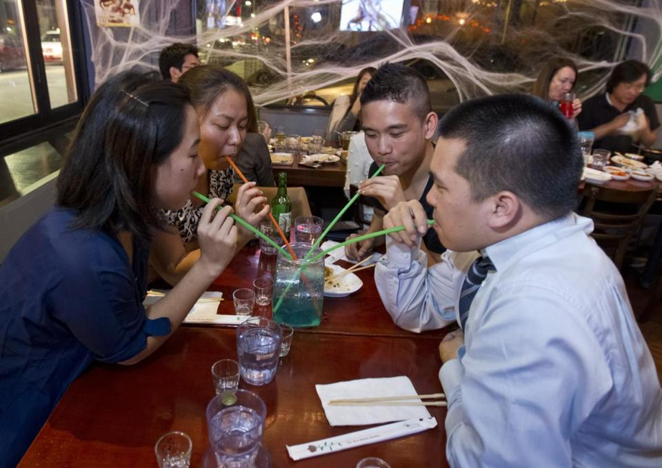 Laura Lee, Margaret Kee, Justin Fang, and Dave Tran sipped a drink at the Myung Dong restaurant.