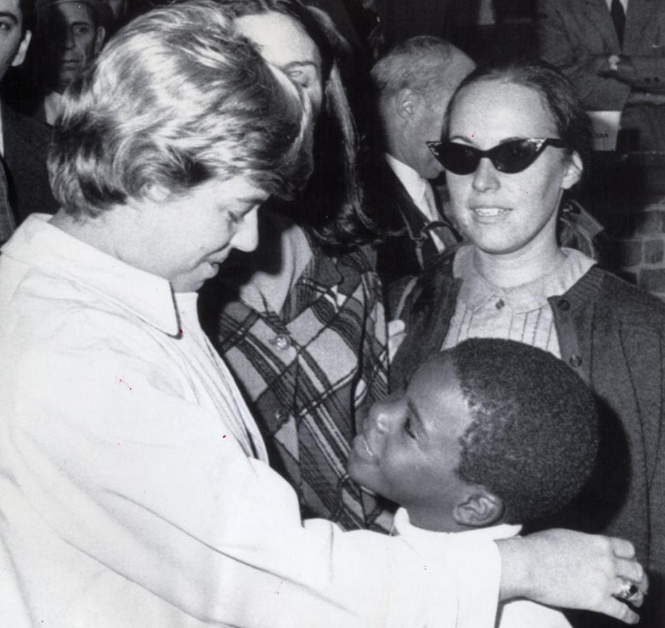 Ms. Smith spoke with one of her pupils in 1968 during a protest outside the Christopher Gibson School in Roxbury.