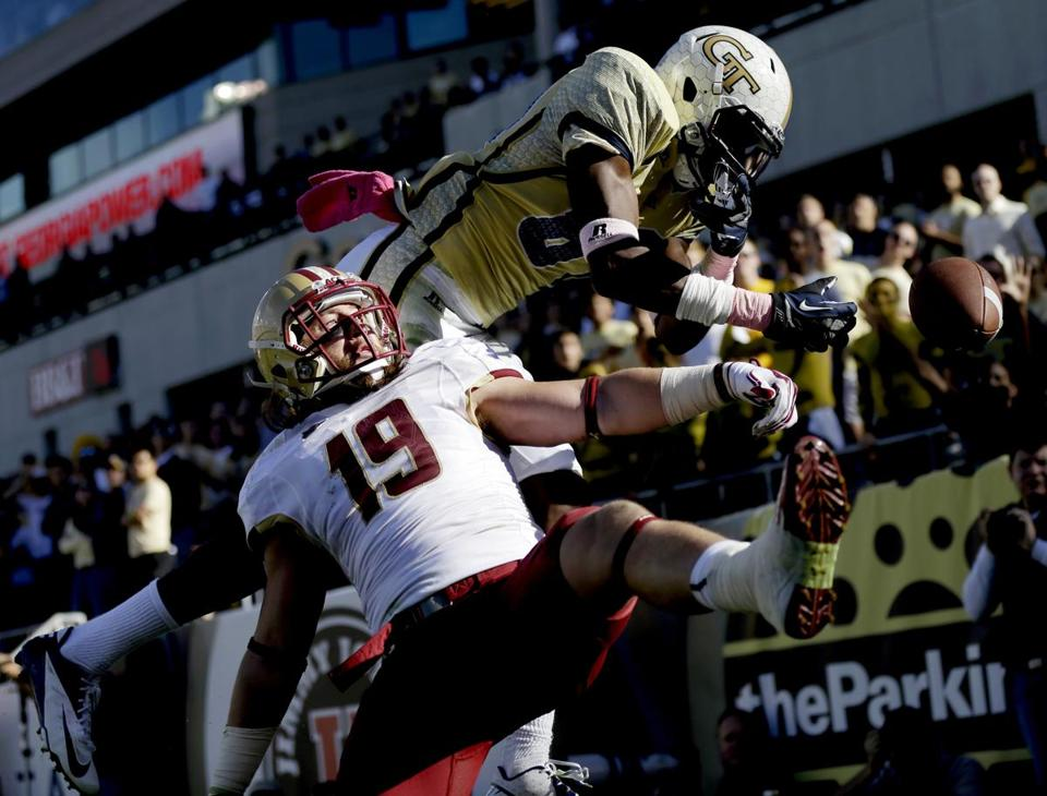 A pass intended for Georgia Tech's Jeff Greene is broken up by BC defensive back Sean Sylvia in the second quarter.