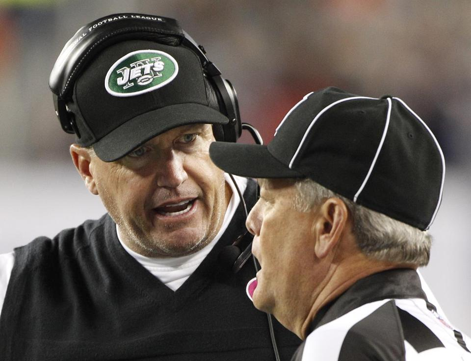 "Asked if he thought the Jets helped the Patriots, Rex Ryan said, ""Yeah, I'd say so."""