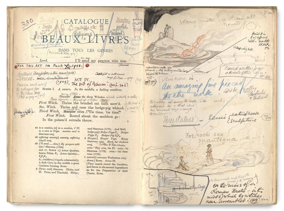 A promptbook of Macbeth annotated by Edward Gordon Craig, an actor, producer, and set designer who lived from 1893 to 1964.