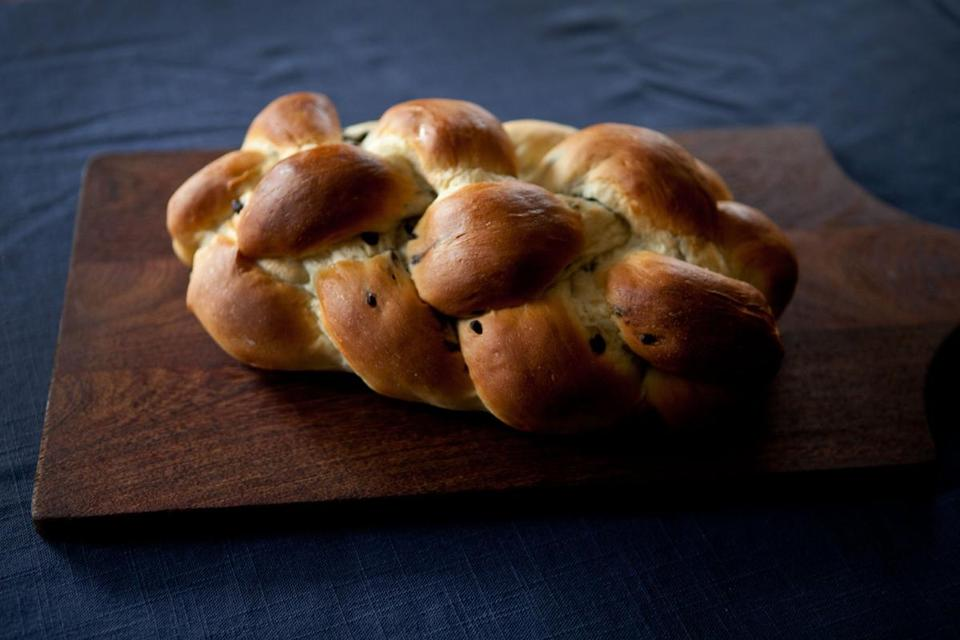 A chocolate chip challah made by Susan Lees (inset below) of Susie's Baking.