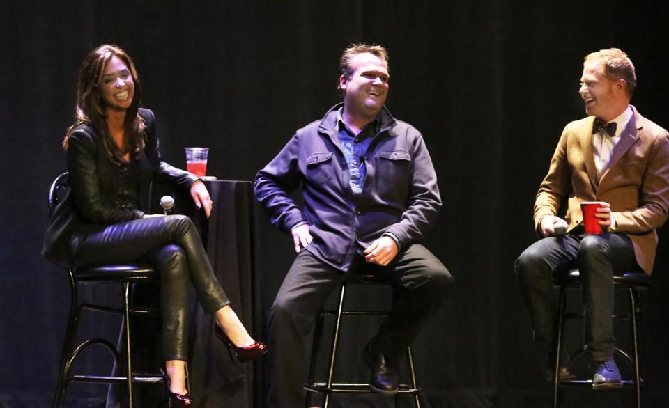 "From left: J.C. Monahan with Eric Stonestreet and Tyler Ferguson in the Q&A part of a ""Modern Family"" night at the Wilbur."
