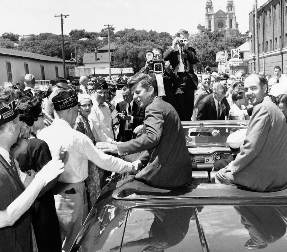 Senator John F. Kennedy, accompanied by George McGovern, campaigned in June 1960 in Sioux Falls, S.D.