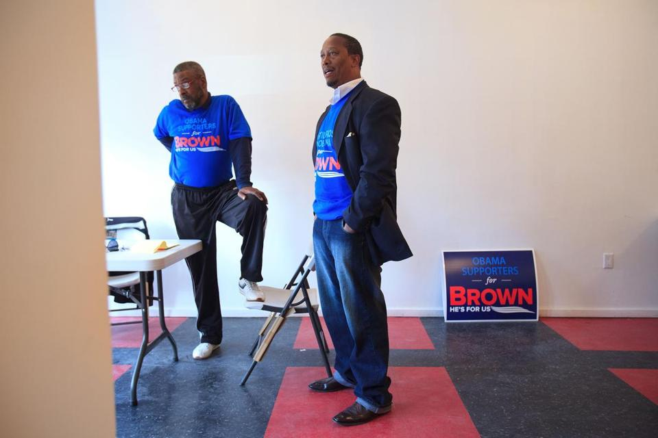 Campaign officials for Senator Scott Brown Benjamin F. Thompson (left) and Robert A. Lewis at the Grove Hall office.