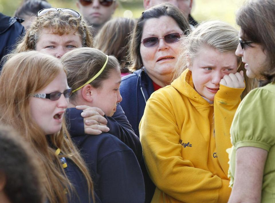 People wept outside Town Hall Tuesday in Clayton, N.J., where Autumn Pasquale's body was found in a recycling bin.