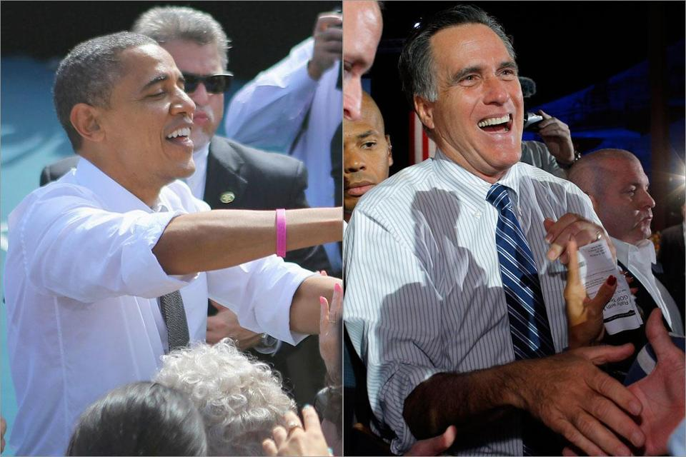 President Obama attended a rally in Delray Beach, Fla., while Mitt Romney greeted voters during an event at the Red Rocks Amphitheater in Morrison, Colo.