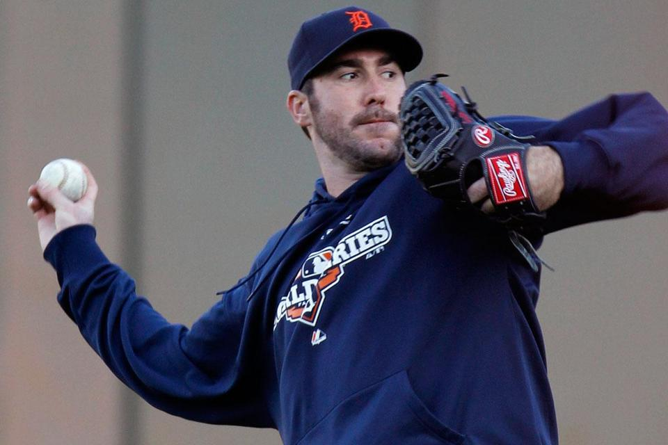 Detroit starter Justin Verlander warms up in practice as the rested and ready Tigers prepare to face San Francisco.