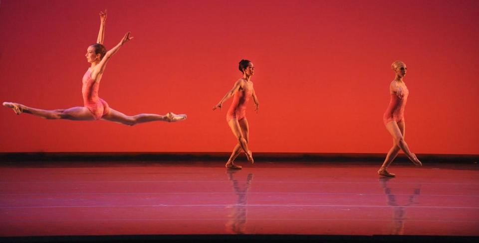 "Rachel Cossar (left), Corina Gill (middle), and Whitney Jensen performed during a Boston Ballet dress rehearsal of Jorma Elo's ""Awake Only."""