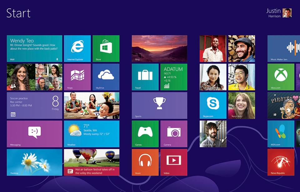 A screen image of Windows 8.