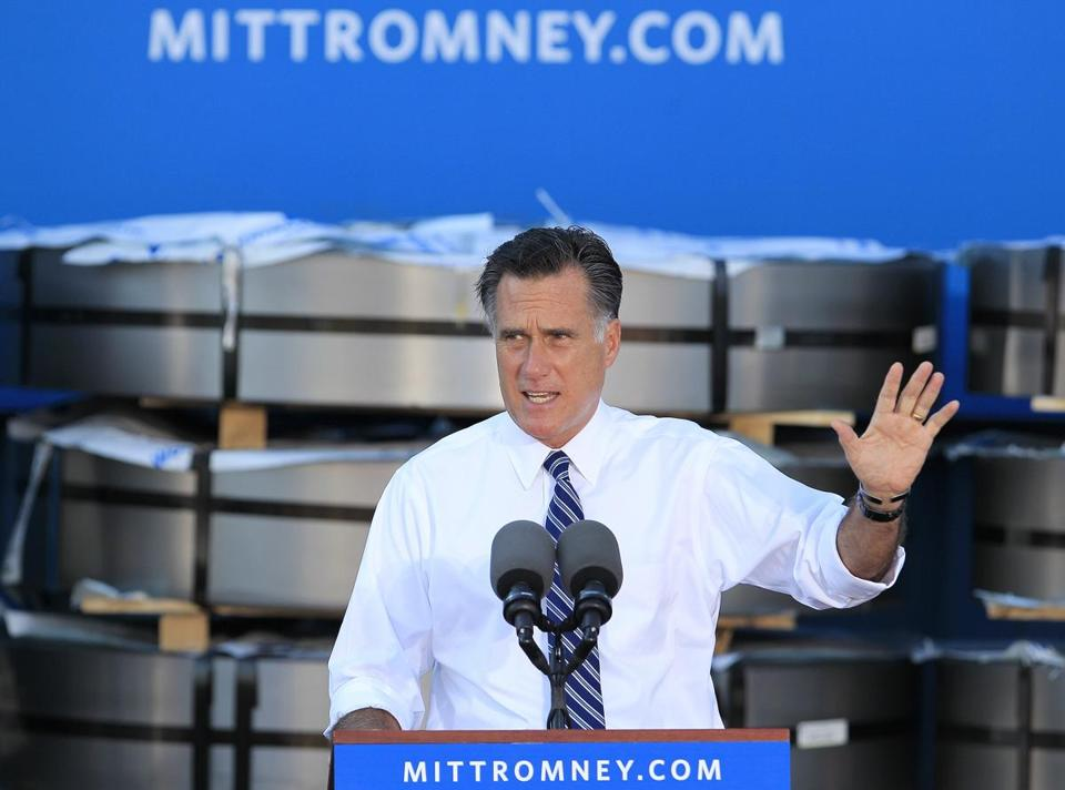 Mitt Romney addressed a campaign rally Thursday in Worthington, Ohio.
