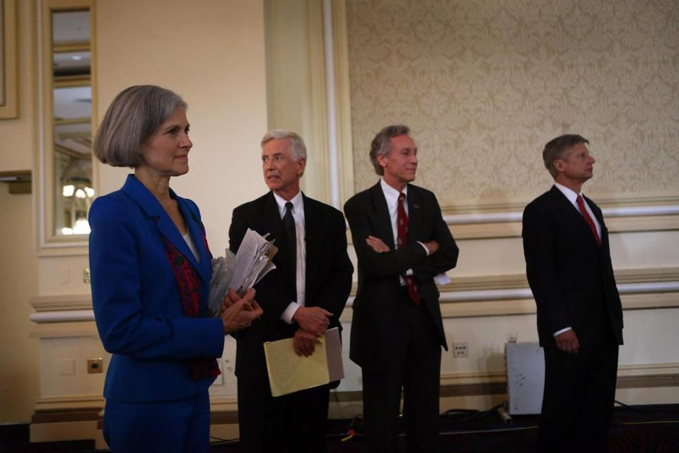 From left, Jill Stein, Rocky Anderson, Virgil Goode, and Gary Johnson took part in a third-party debate in Chicago.