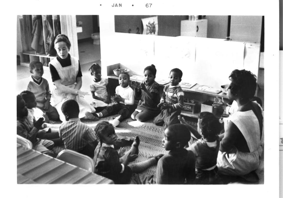 Dr. Hart is shown teaching at the Turner House Preschool in Kansas City, Kan., in 1967.