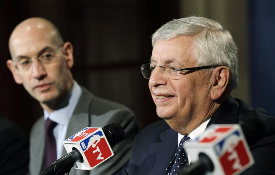 David Stern spoke Thursday as his replacement, Adam Silver, looked on.