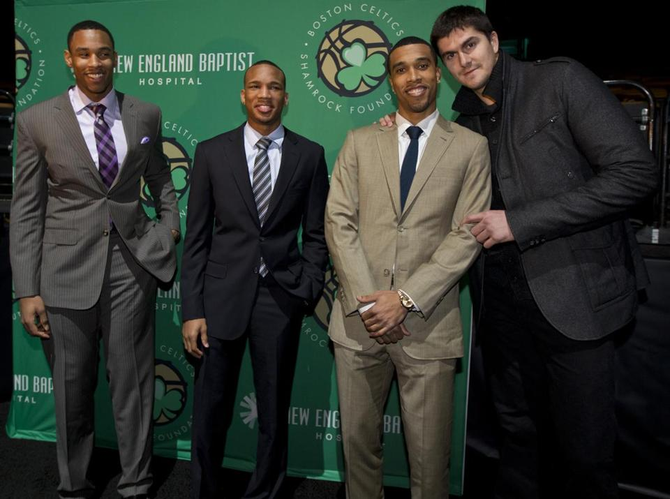 Celtics players (from left) Jared Sullinger, Avery Bradley, Courtney Lee, and Darko Milicic at the team's annual Shamrock Gala at the TD Garden on Friday night.