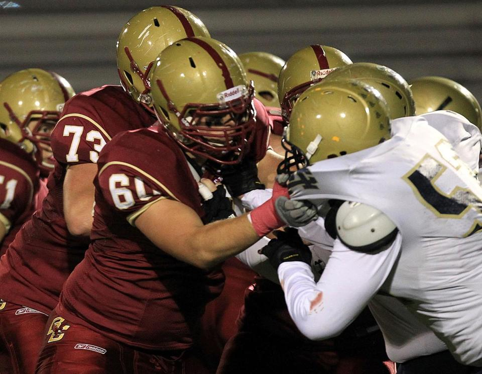 Boston College High School played against Malden Catholic on Friday. Of 164 schools, BC High reported the highest number of head injuries sustained in extracurricular activities.