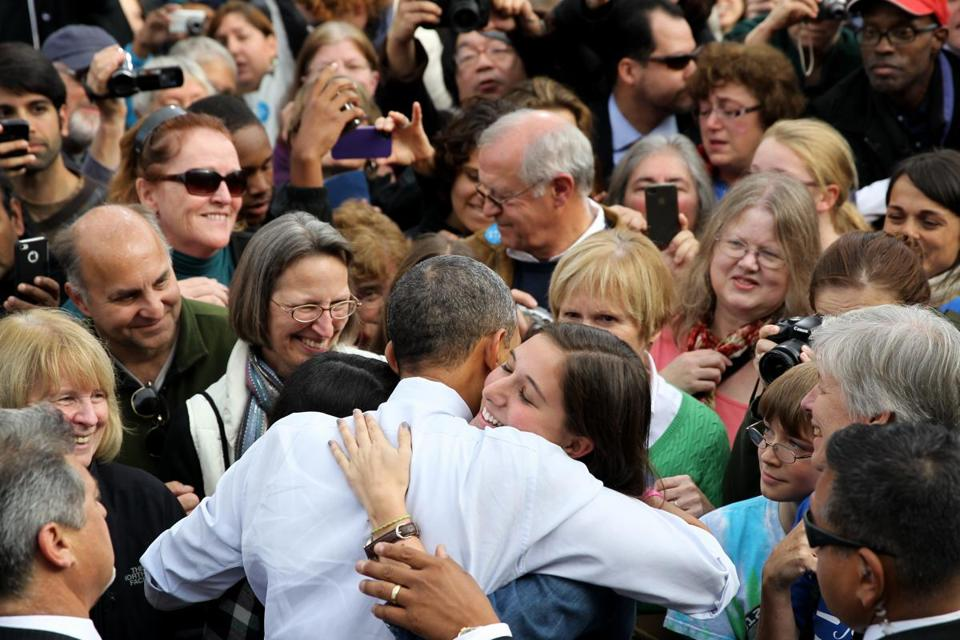 President Obama embraced a supporter at a rally in Nashua on Saturday.