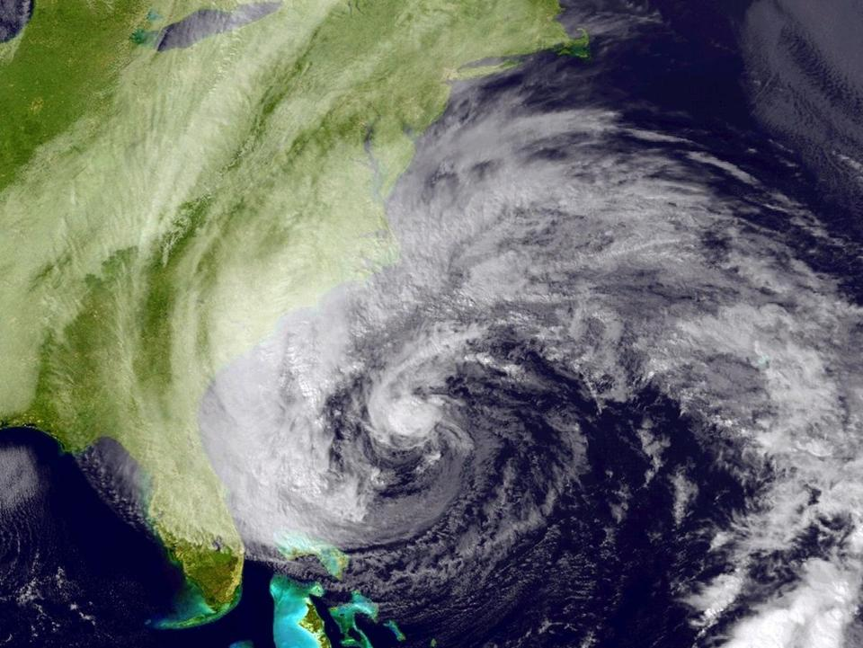 Sandy is seen in a satellite image taken Sunday.