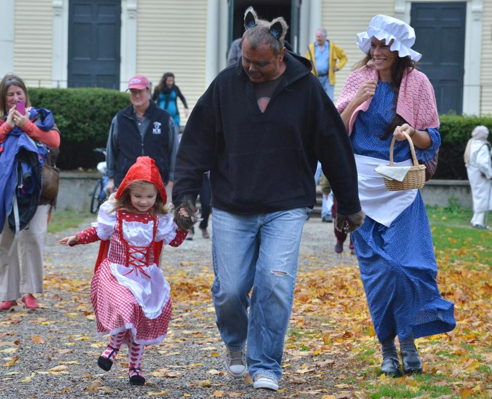 Juno Kullgren, 3, set out for trick-or-treating in Gloucester with her parents, Peter and Mary Ellen.