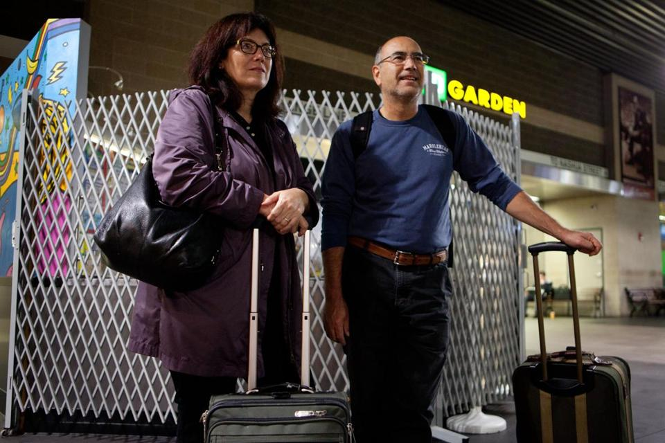 Lynn and Rich Ferrao waited to board an Amtrak train to Portland, Maine, in Boston's North Station Monday morning.