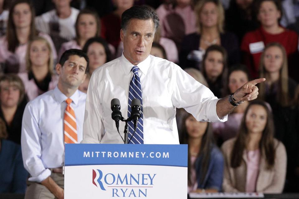 Mitt Romney spoke at a campaign event at the University of Findlay in Findlay, Ohio., as vice presidential candidate Paul Ryan and voters listened on.