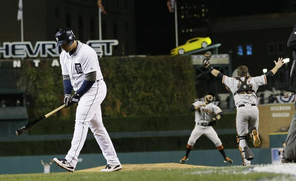 With two outs in the bottom of the 10th, the only hope left for the Tigers, Miguel Cabrera  took a called third strike to end Detroit's season.