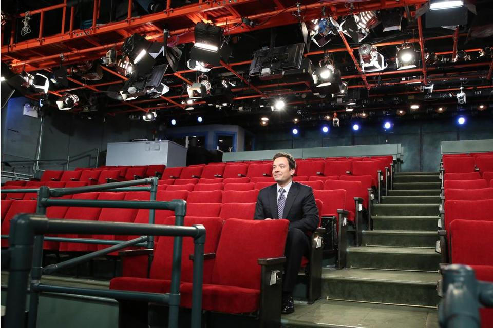 Jimmy Fallon in the empty studio where his show is taped in New York.