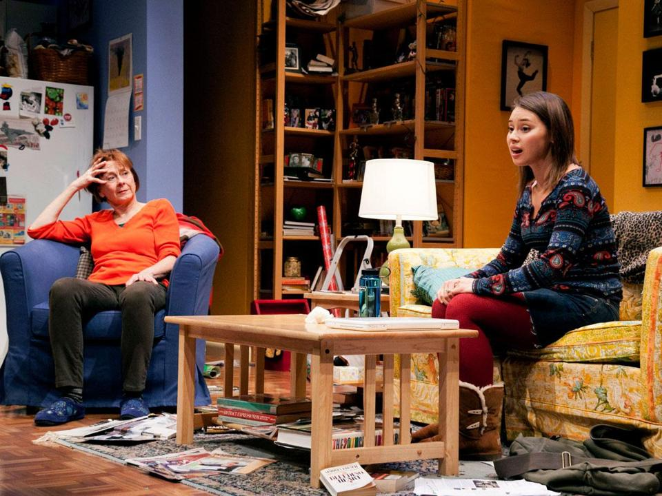 "Susan Pellegrino and Rebecca Blumhagen as mother and daughter in Merrimack Repertory Theatre's ""Memory House.''"