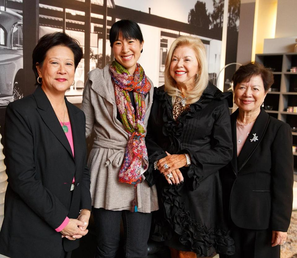 From left: Janet Wu and Joanne Chang with event chairs Mary Kakas and Barbara Quiroga at the fund-raiser for the new Hong Lok House.