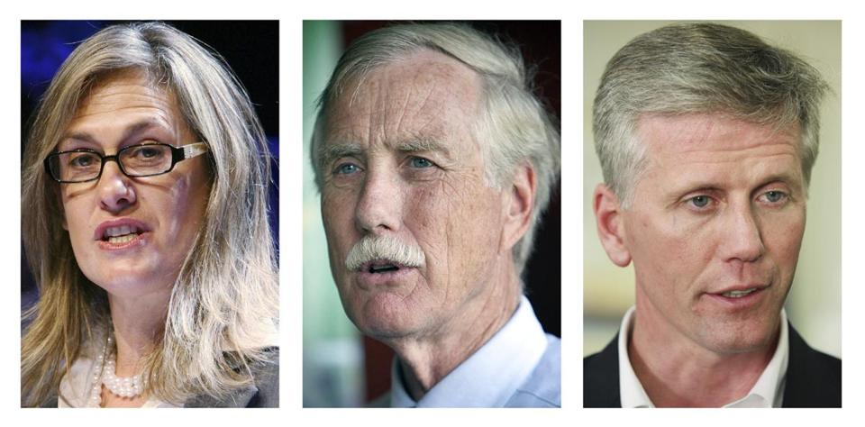 Cynthia Dill, Angus King, and Charlie Summers seek Maine's open Senate seat.
