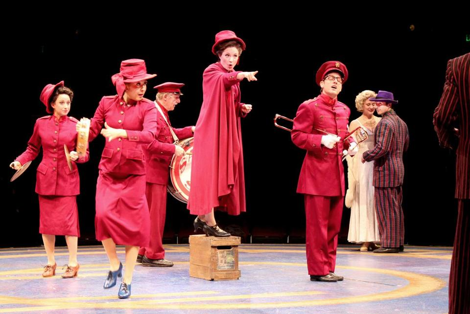 "Kelly McCormick (center) as Sarah Brown in ""Guys and Dolls"" at North Shore Music Theatre."
