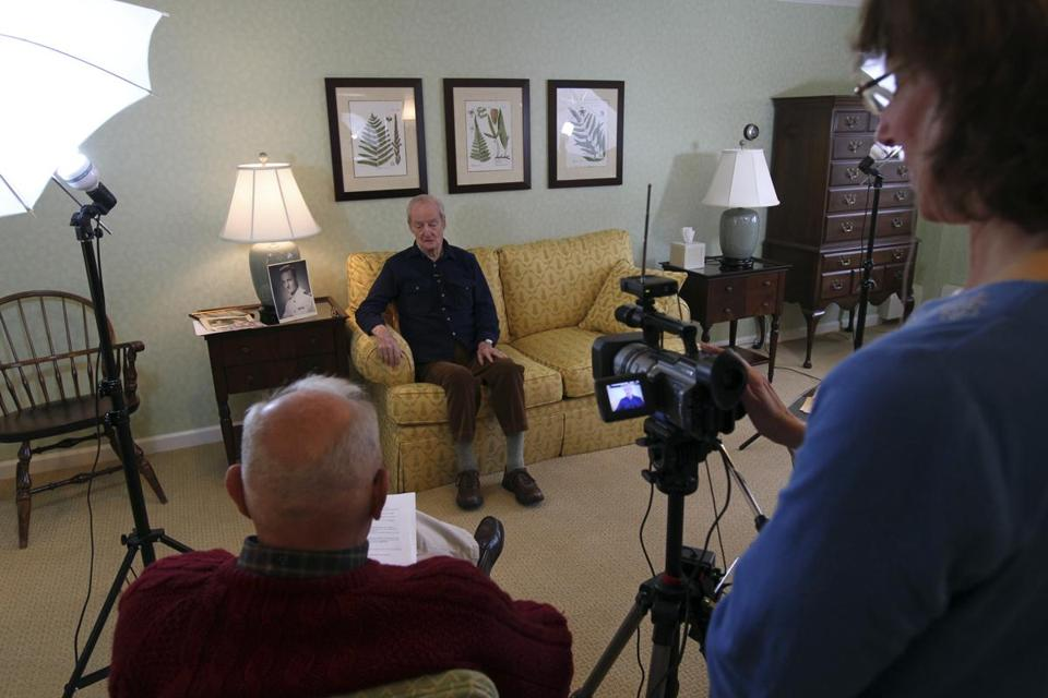 World War II vet Ned Thomas shares his memories with interviewer Tom Larkin and videographer Leslie Wittman in Bedford.