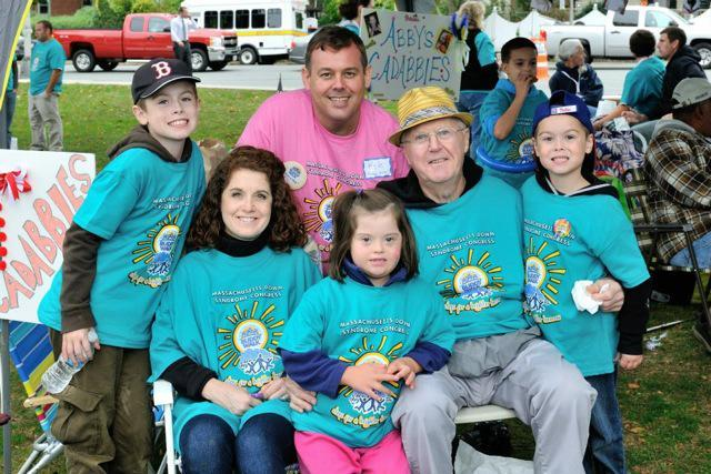 Kyle Gendron (rear, center) with members of his family last month at the MDSC Buddy Walk in Wakefield.