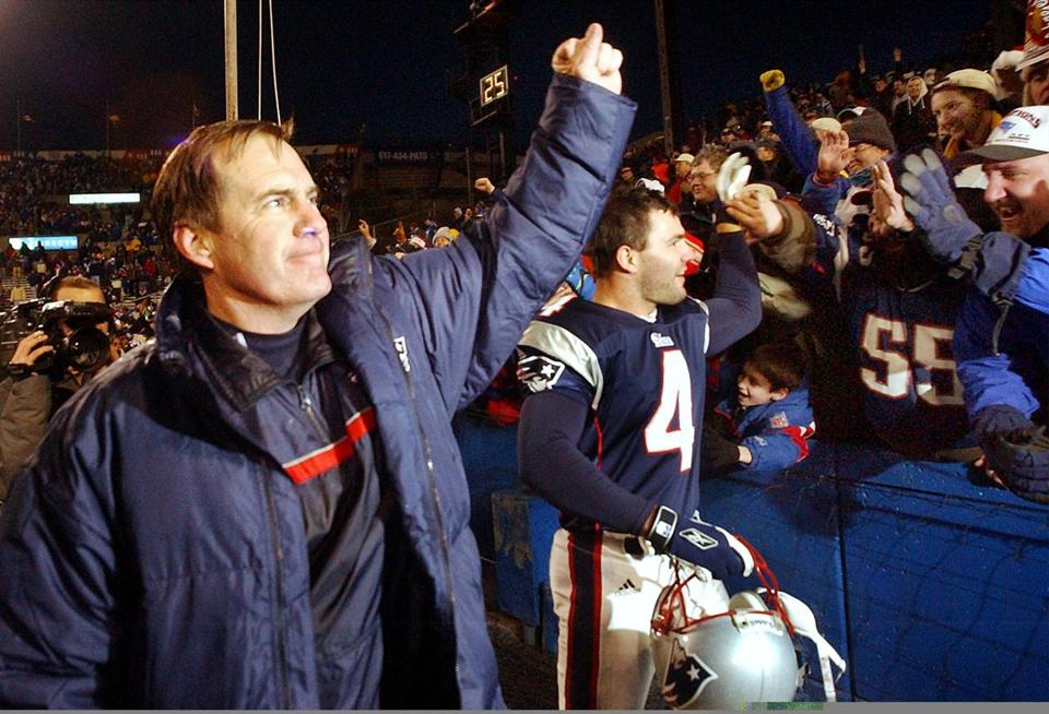 Bill Belichick saluted fans after taking a victory lap following a win in Foxboro Stadium's final regular-season game.