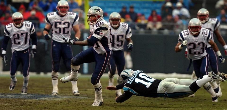Troy Brown's punt return for a touchdown in the third quarter started a 28-point second-half scoring assault for New England.