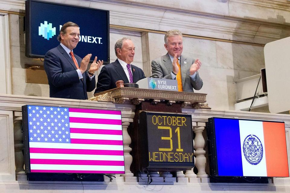 New York City Mayor Michael Bloomberg rang the opening bell at the New York Stock Exchange Wednesday after a two-day shut down.