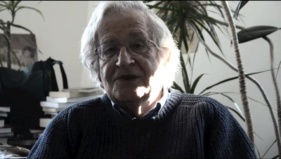 MIT students (above) and Noam Chomsky (below) in the video parody.