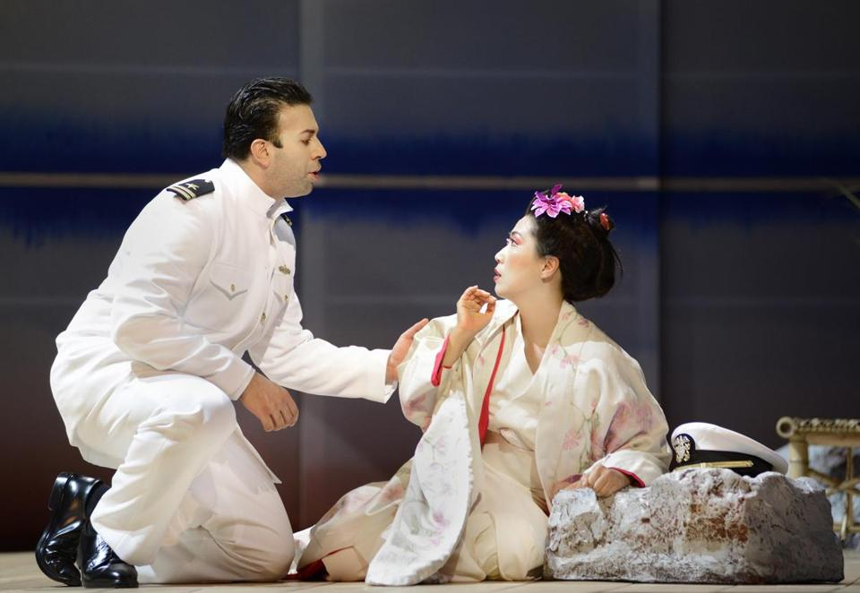 "Dinyar Vania (Pinkerton) and Yunah Lee (Cio-Cio San), in her debut with Boston Lyric Opera, sang the lead roles in Puccini's ""Madama Butterfly,"" in the BLO's season opener at Citi Performing Arts Center Shubert Theater."