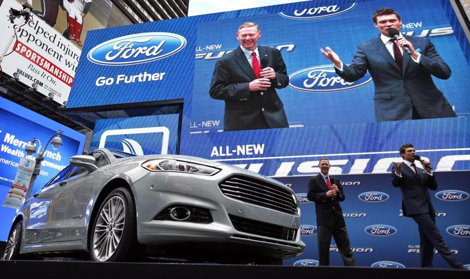 Ford CEO Alan Mulally and Ryan Seacrest attended a launch for the 2013 Fusion Hybrid in New York in September.