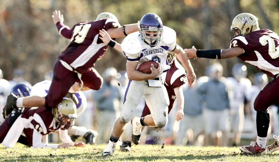 Shawsheen senior Paul DePlacido leaves Whittier defenders reaching for air as part of a 313-yard afternoon.