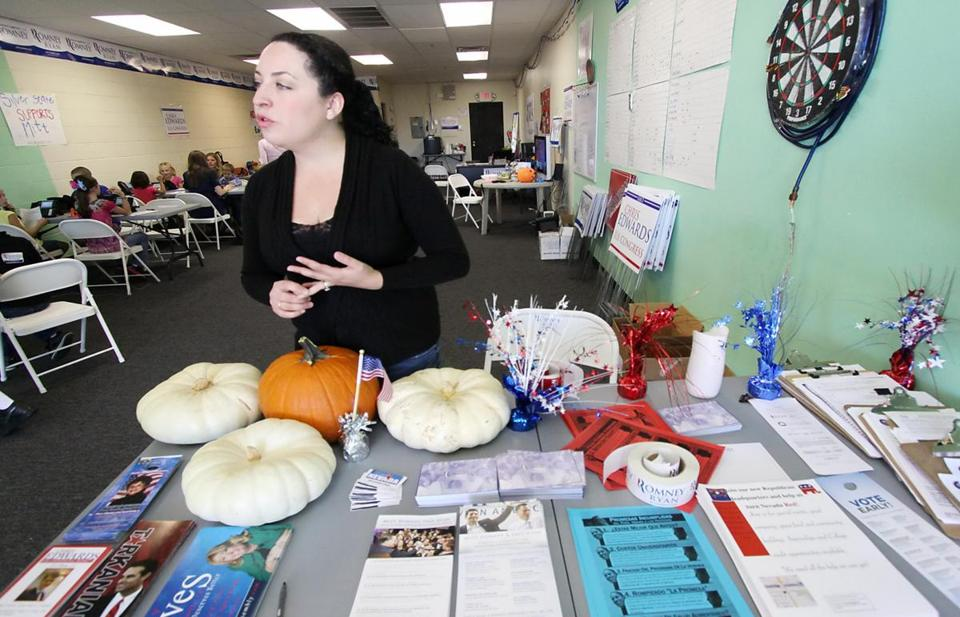 Elsa Barnhill heads Hispanic outreach for Mitt Romney out of the Republican's campaign office in East Las Vegas, Nev.