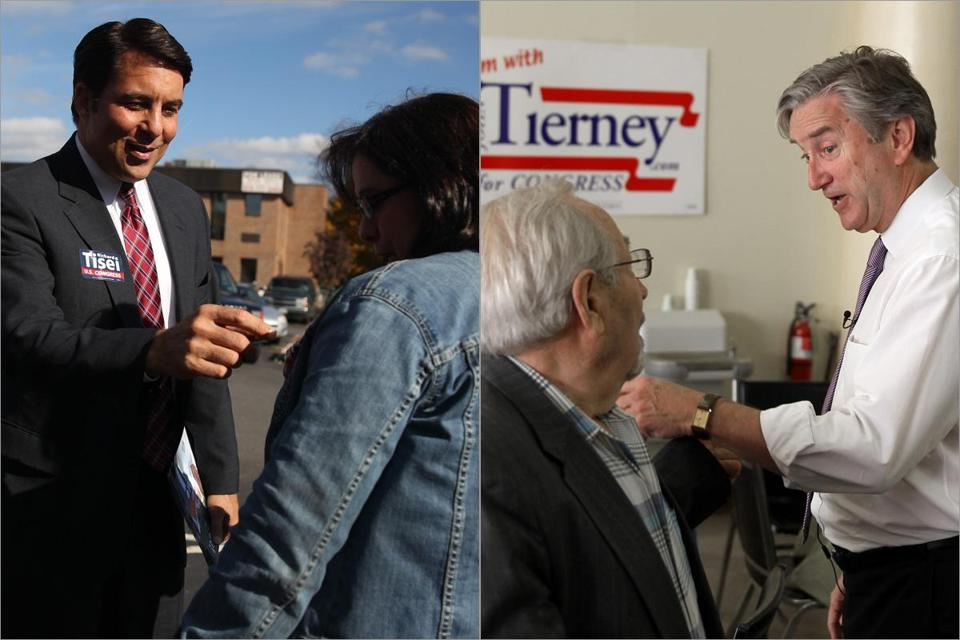 Representative John Tierney (right), visiting the Zabota Adult Day and Health Center in Lynn Thursday, spoke with Simon Malykin. Republican Richard Tisei, who is challenging Tierney, talked with Laura Kamens while he was campaigning in Danvers last week.