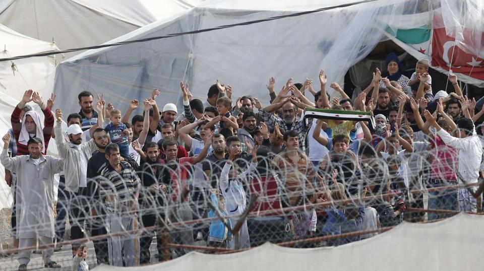 Syrian refugees protested the conditions at Boynuyogun camp on the Turkish-Syrian border last week.